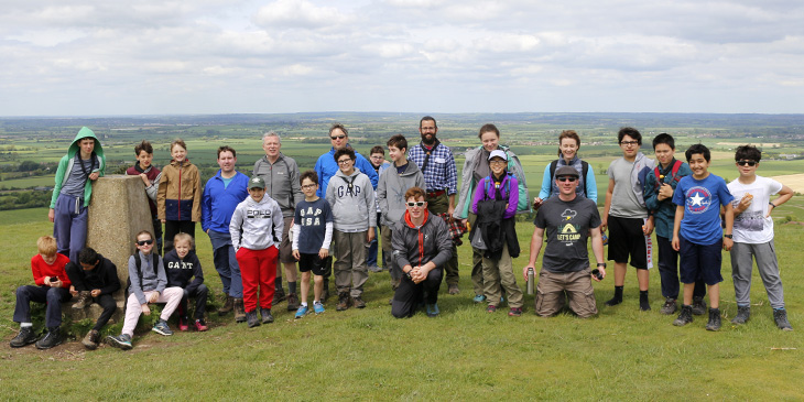 The Diehards scouts at the top of Ivinghoe Beacon