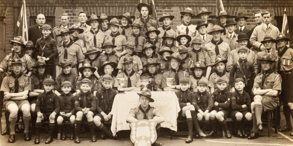 Sepia photo of an early scout group in St John's Wood, London NW8